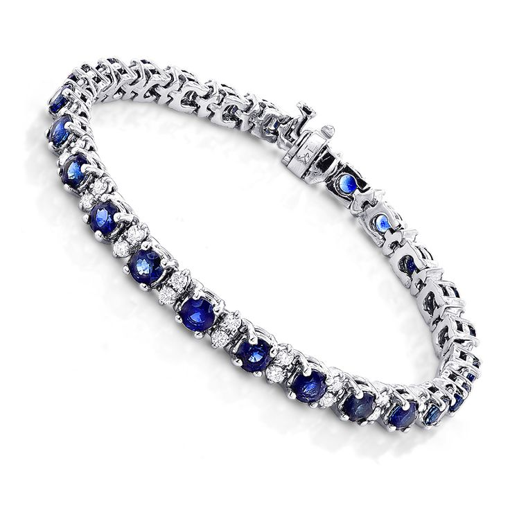 18K Gold Blue Sapphire Diamond Tennis Bracelet For Women 3.76ct