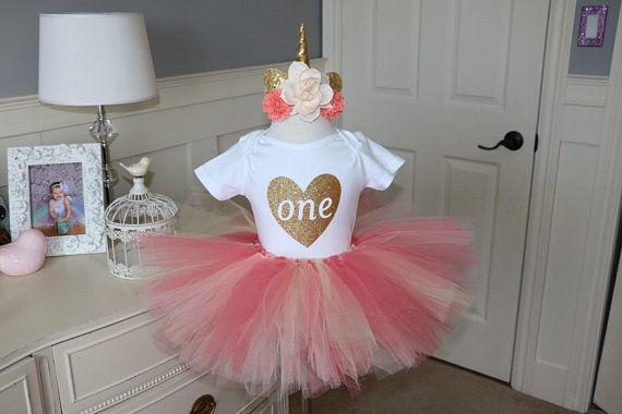 Unicorn tutu set -- top and tutu set in coral, cream and peach tutu with flower crown unicorn headband