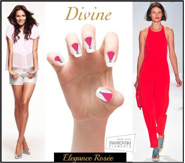 Elégance Rosée. Instant press-on manicure encrusted With Swarovski crystals.  ***Derniers jours*** Exclusivement sur indiegogo ==> http://bit.ly/1hwPOZj ***Last Days*** Exclusively on indiegogo ==> http://bit.ly/1hwPOZj  Made With Swarovski Elements
