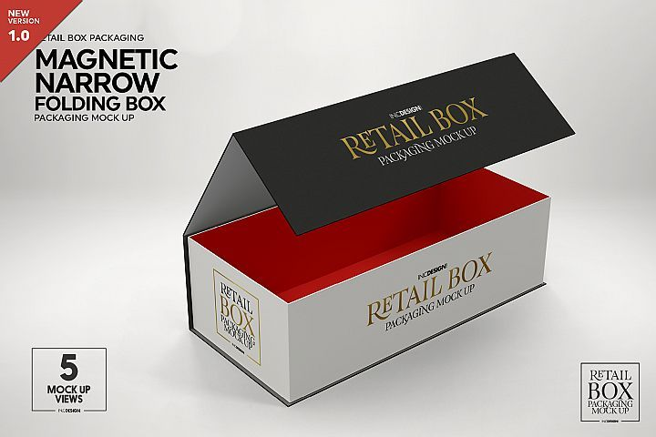 Download Foldable Narrow Retail Box Magnetic Seal Packaging Mockup 278802 Branding Design Bundles Packaging Mockup Mockup Design Mockup Free