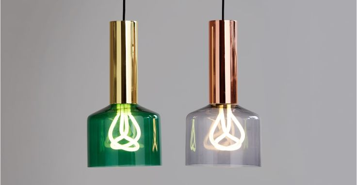 Rehm Pendant Lamp and Plumen 001 Bulb, Smoke Grey and Copper   made.com