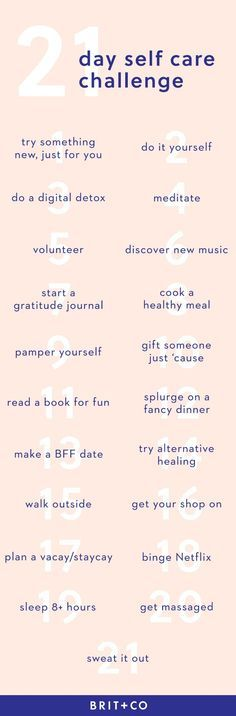 Save this 21 day self-care challenge to help you feel your best by doing daily things that make you feel great!