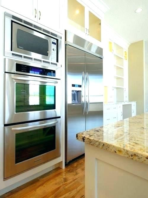 double wall oven with microwave on top