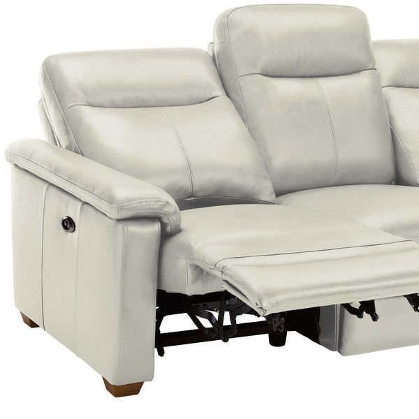 Malmo 3 Seater Sofa With 2 Electric Recliners Off White Leather White Leather Sofas Leather Sofa Sofa