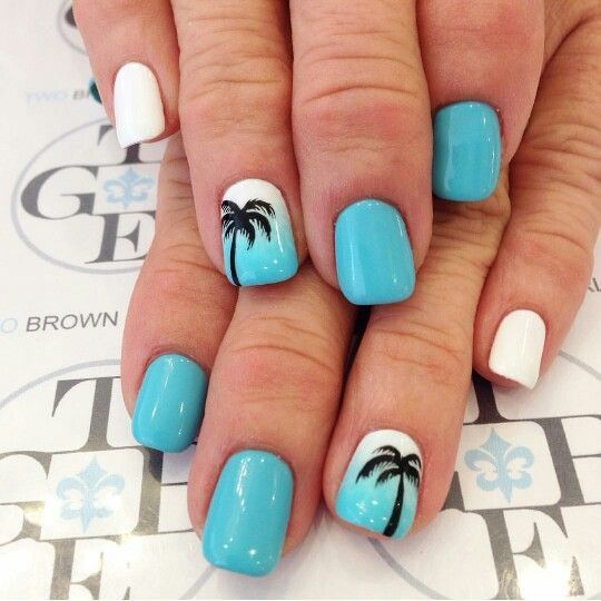 Baby blue, white, palm trees, acrylic nails, gel nails, nail art
