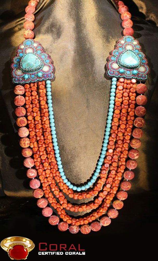 Make a style statement with this intricately designed Coral and Turquoise Necklace