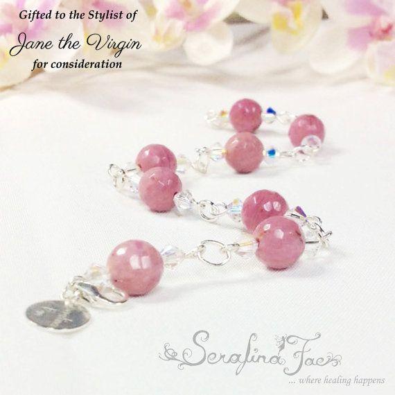 Jane the Virgin Sterling Silver Bracelet Beaded Bracelet Pink Bracelet Rhodochrosite Swarovski Gifts for Her