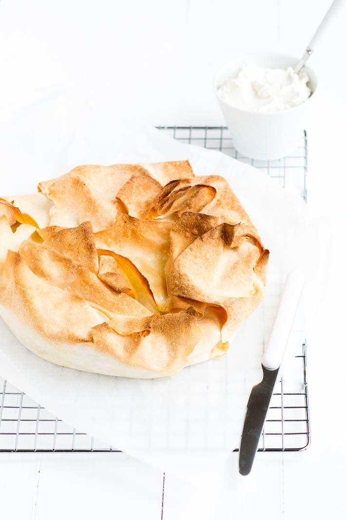 apple pecan filo tart with vanilla crème fraîche