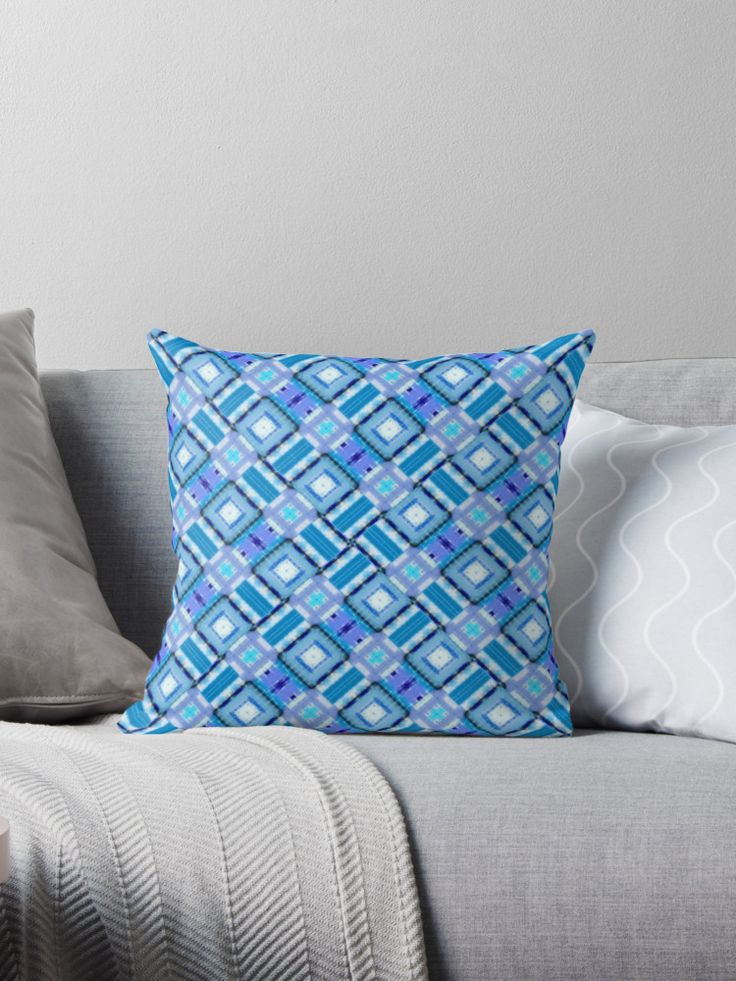 Digital abstract blue pattern by Silvia Ganora • Also buy this #artwork on #homedecor, #apparel, #stickers, and more. #pillows #geometric #blue #throwpillows