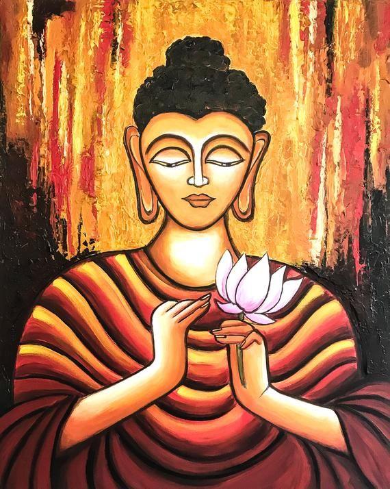 meditation art MONK painting Spiritual wall art Buddha wall art Asian wall art saint man wall art Spiritual home decor altar art