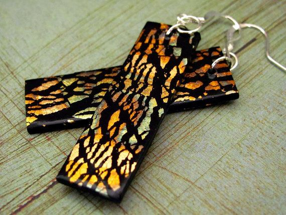 Gold Black Earrings Polymer Clay Dangle Gold Leaf by PolymerPlayin, $11.00