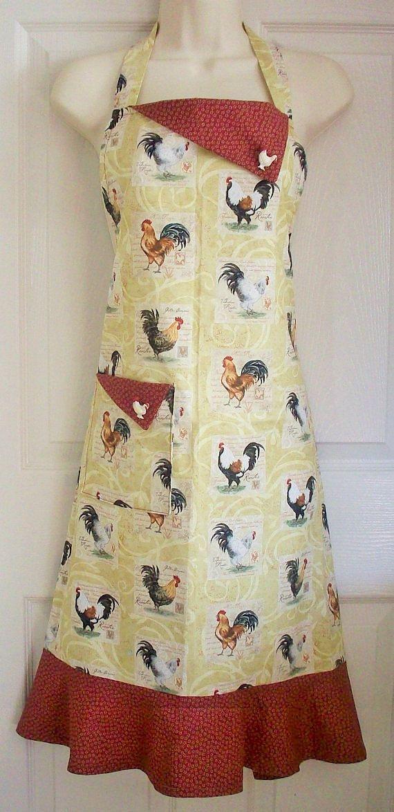 Pays ferme, rétro tablier, Motif de coq, complet, tablier, tablier de poulet  Ce pays vintage ferme style rétro plein tablier est un motif de coqs