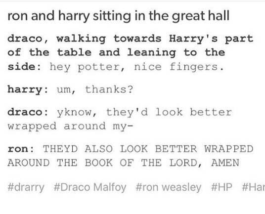 #HP | Harry Potter | To all you Drarry fans out there... | Draco and Harry | Ron Weasley
