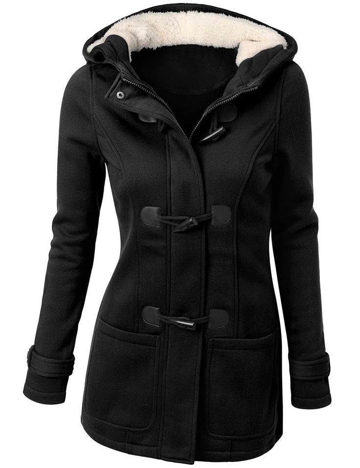 SJSP Women Simple Wool Blended Long Sleeve Coat BLACK,S