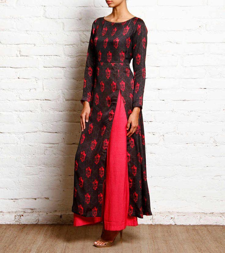 Dark Blue & Pink Cotton Satin Front Slit Kurta by Nilesh Parashar  #Designer #Slit #Printed #PartyWear