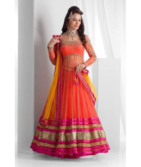 Designer semi stitched lehanga choli orange color