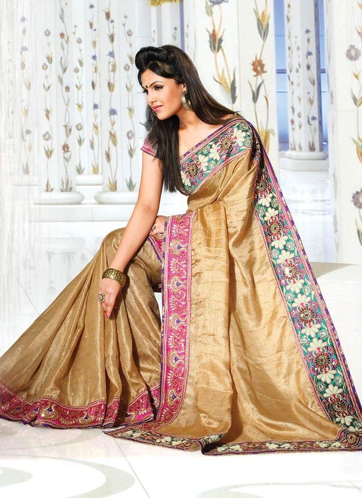 Charming Golden Chanderi Silk Saree