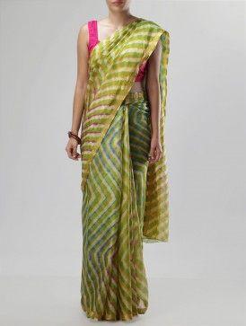Green-Rust Kota-Silk Leheriya Saree