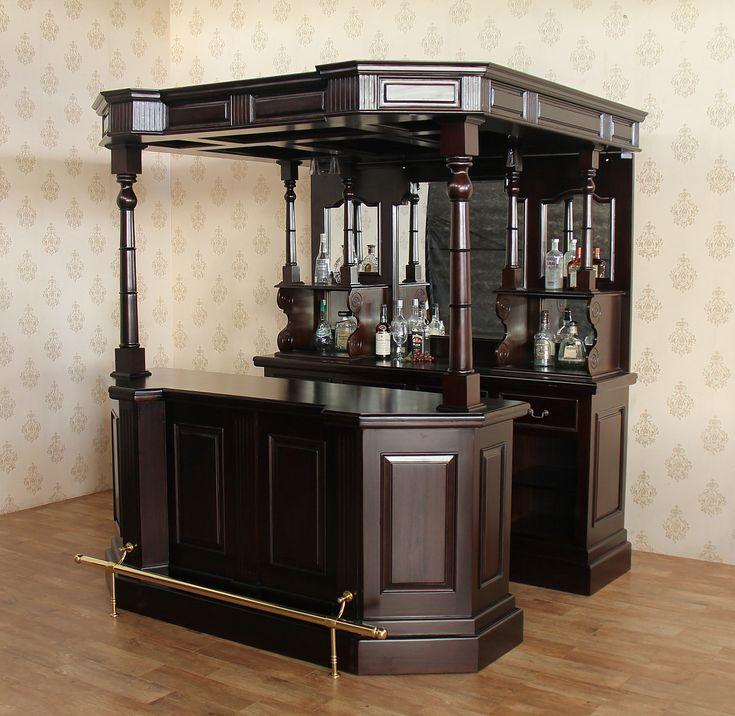 6.5Ft Dark Solid Mahogany English Canopy Home Pub Bar W/Rail. Furniture Care Reproduction ...