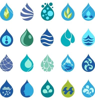 Water drop icons and design elements vector - by incomible on VectorStock®
