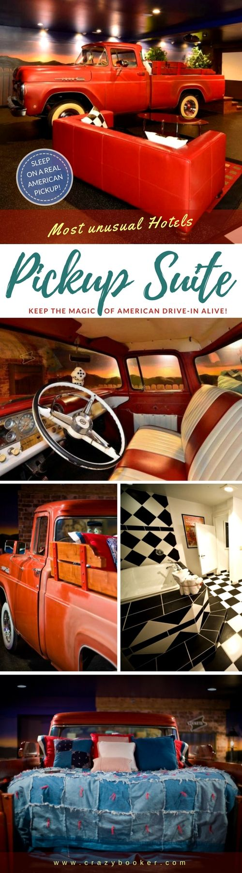 """American Drive-In Suite with unique bed on a pick-up car 