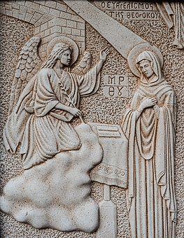 Gravyr, Bebådelsen, Jungfru Maria
