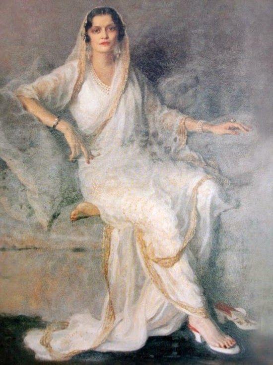 ~ Philip Alexius de László ~ Hungarian artist, 1869-1937: Maharani Indira Devi of Baroda & Cooch Behar