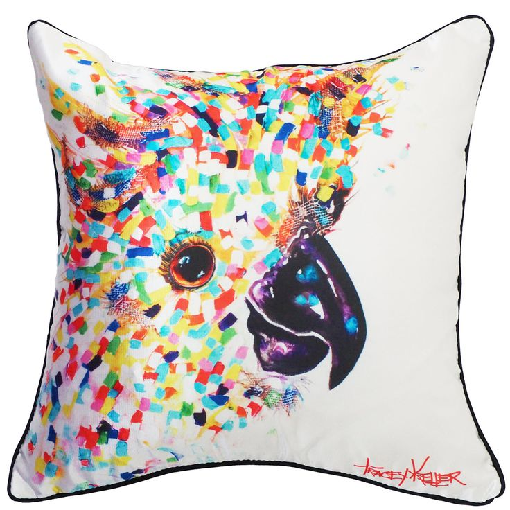White Cockatoo cushion cover tracey keller