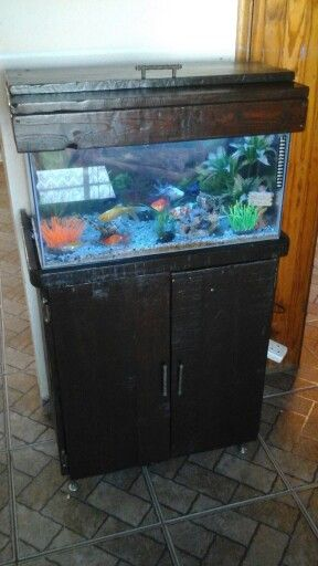 Fish tank cabinet from pallet wood