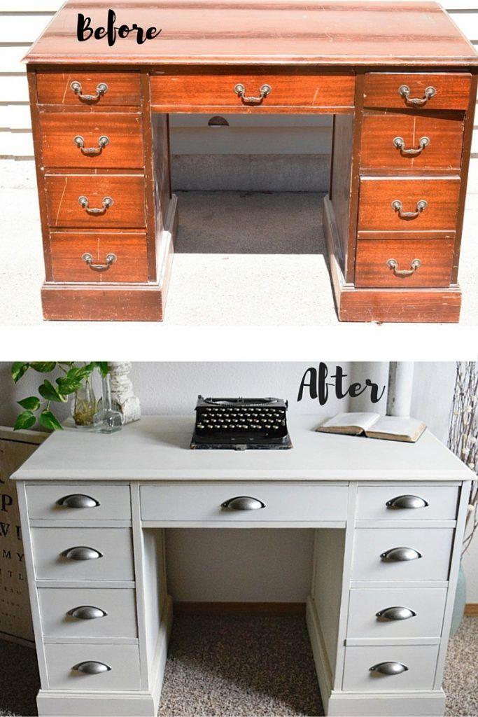 White Desk Restyle Desk makeover diy, Refurbished desk