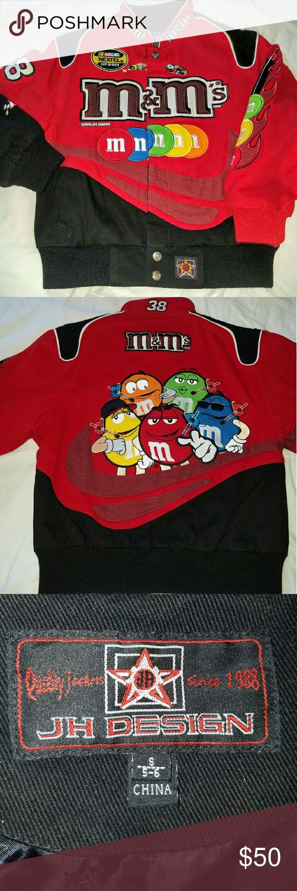Kids NASCAR Jacket #38 M & M's jacket. Beautiful bright red corduroy. Like new! 2007 edition. JH design. Fully lined. Two driver's pins included. No trades/ No holds. JH  Design  Jackets & Coats