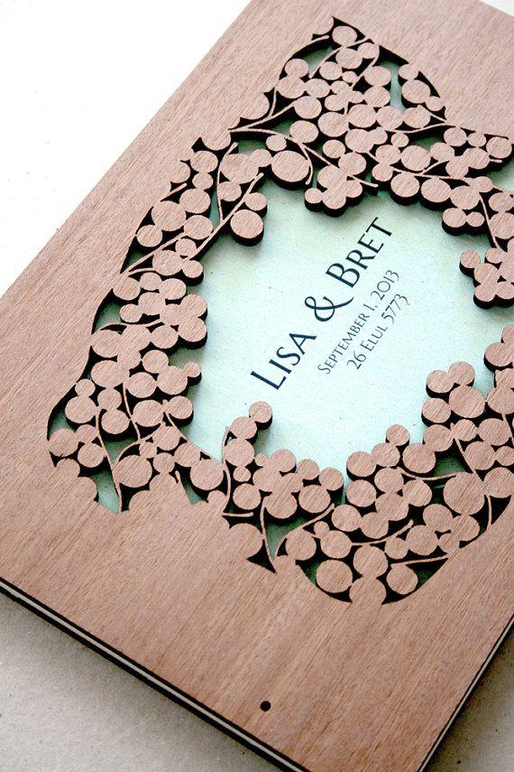 Woodcut Wedding Guest Book Album Branches