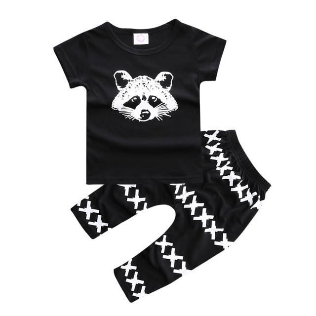 ST203  Hot selling children clothing  set baby clothes glasses pattern short-sleeved T + stripe pants fashion boys clothes - Best price in 10minus