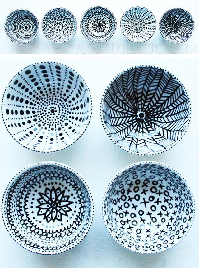 DIY use a porcelain pen and Simply draw on dinnerware, let dry for 24 hours and then bake in the oven for 30 minutes.