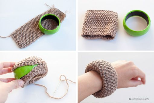 Mi cesta de mimbre: DIY: Pulseras forradas de lana.                                                                                                                                                     Más