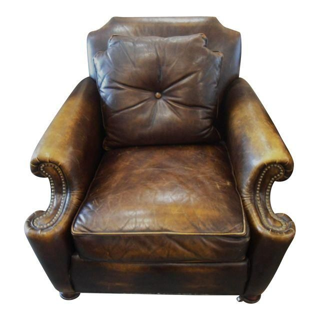 image of stickley dark brown leather armchairs a pair
