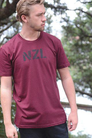 NZL stencil men's burgundy tee