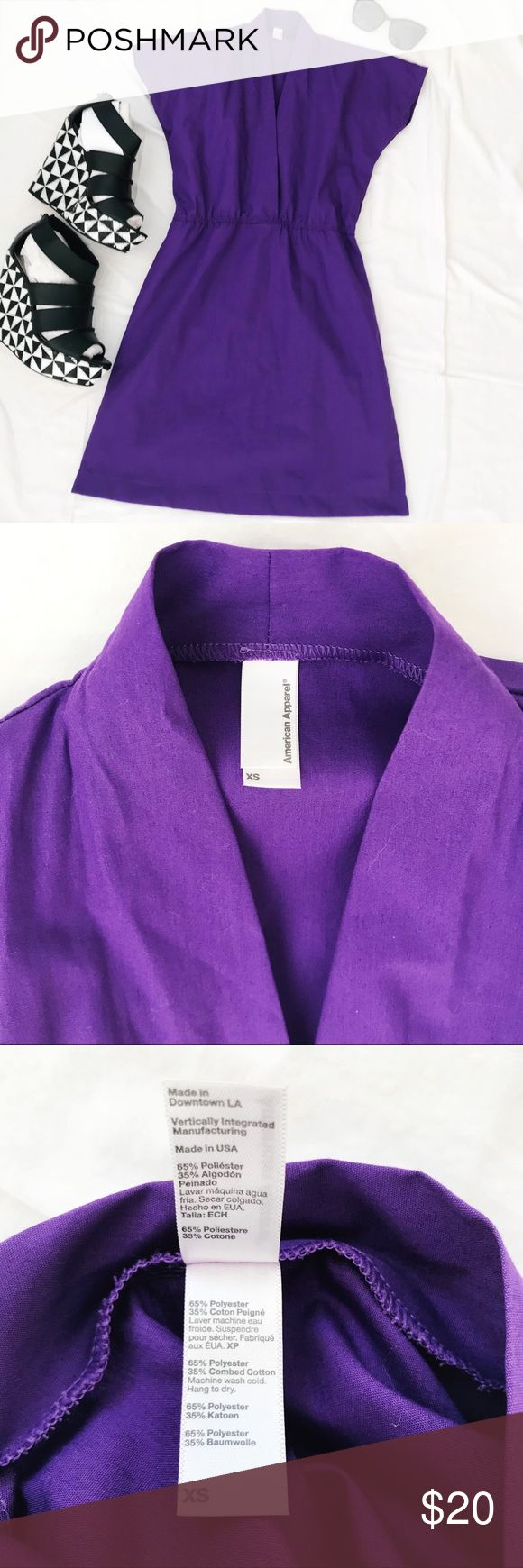 """American Apparel Kimono Dress XS American Apparel Kimono Dress XS - Bright purple color - Kimono style dress - Excellent used condition - 32"""" long from shoulder to bottom of dress American Apparel Dresses"""
