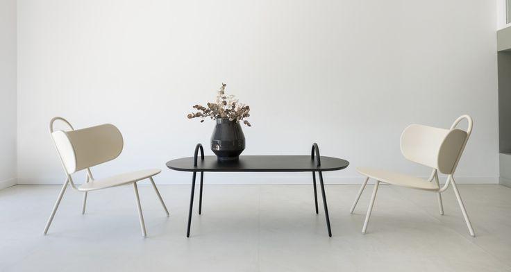 Table basse en métal laqué noir Swim