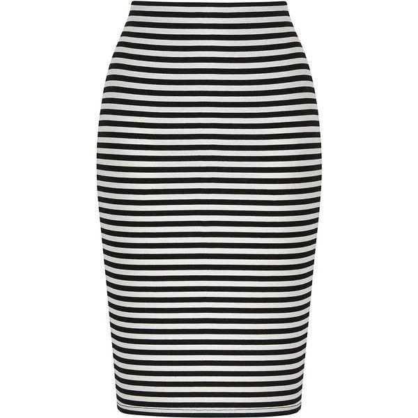 Stripe Tube Stretch Jersey Skirt ($22) ❤ liked on Polyvore featuring skirts, mid-calf skirt, black knee length skirt, midi tube skirt, black striped skirt and calf length black skirt