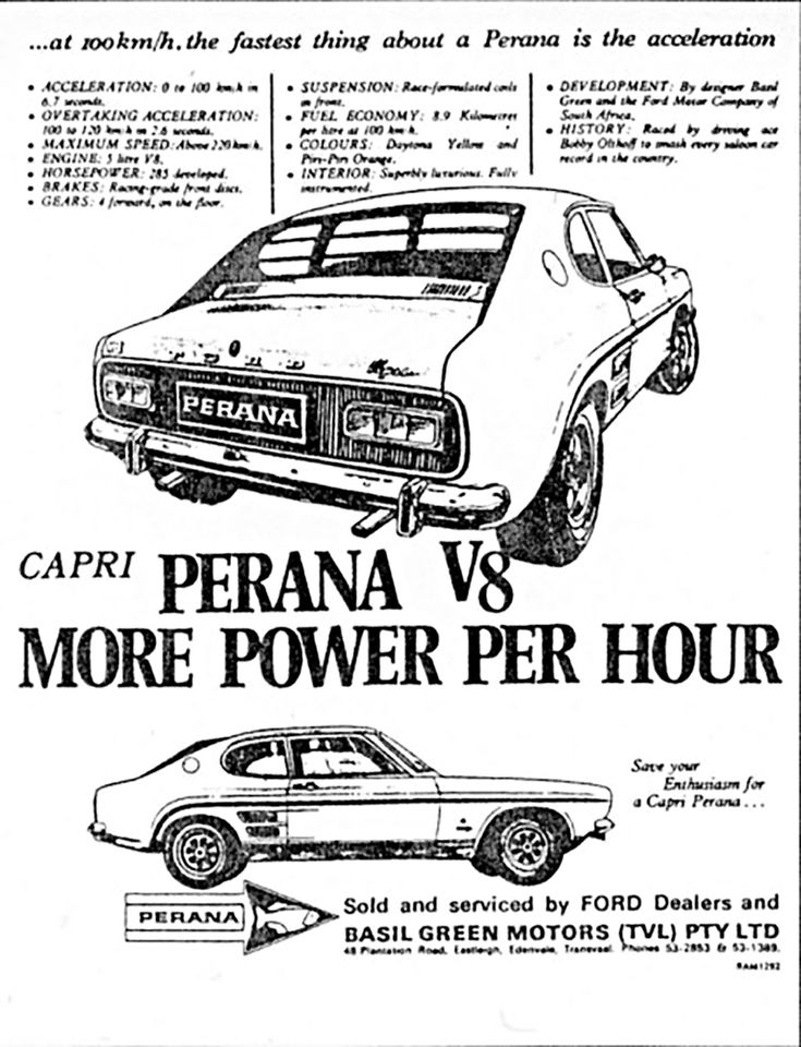 """""""Cars don't come much more iconic than the famous Mustang V8–engined Ford Capris created by South African tuner extraordinaire, Basil Green"""" Hailed as one of South Africa's fastest sports cars at the time, the Capri Perana V8 was the product of Basil Green Motors, a company based in Johannesburg."""
