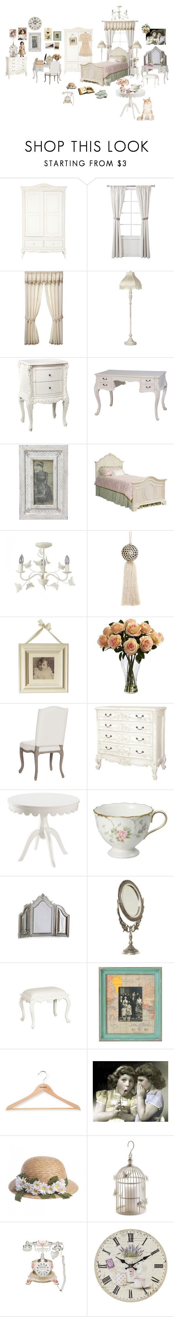 """Vintage Bedroom"" by nattindira ❤ liked on Polyvore featuring interior, interiors, interior design, home, home decor, interior decorating, Shabby Chic, Petit Tresor, Today's Curtain and Universal Lighting and Decor"