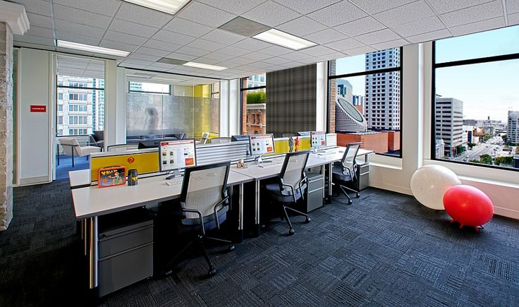 Smart workstations inside the Yelp office also offer lovely views