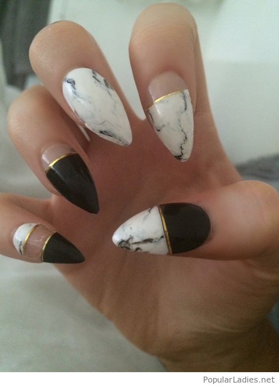 black-gold-and-print-for-long-nails