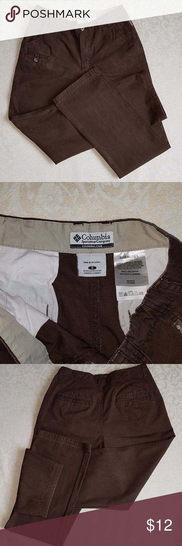 Columbia Sportswear brown casual pants Columbia Sportswear brown casual pants.  Size 8 Regular.  Waist is 27 inches.  Inseam is 31 inches.  Just a great pair of pants for Fall, very comfortable with just the right amount of worn cuffs.  (100080) Columbia Pants Boot Cut & Flare