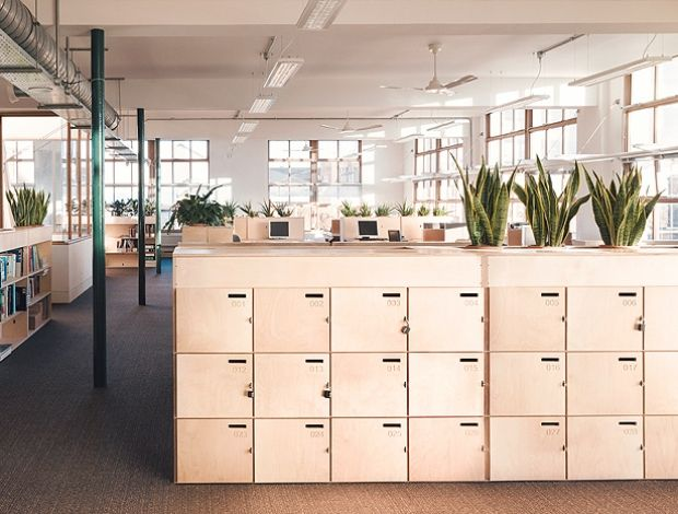 Opendesk lockers with integrated planting for Greenpeace's HQ|||
