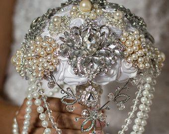 Perlas de la boda ramo de broche, ramo de la joyería, bouquet Rhinestone, getsby gran broche ramo, ramo de cristal, ramo con broches.
