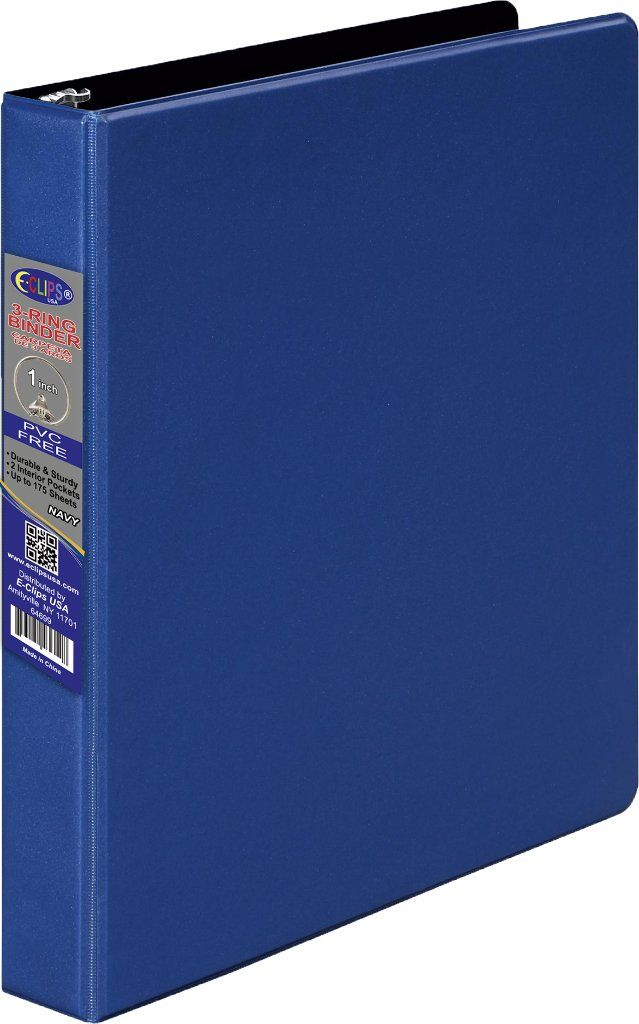 1 Inch 3 Ring Vinyl Binder - Blue - 24 Units