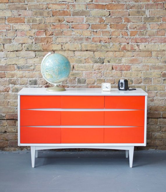 Mid Century Modern Retro White and Orange Painted Petite Nine Drawer Dresser / Credenza 50s 60s Mad Men