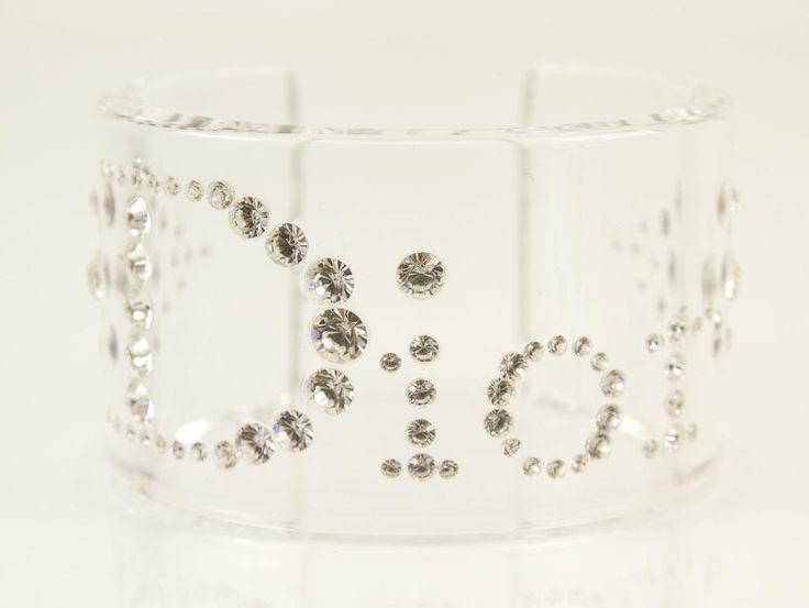 Christian Dior Lucite Clear Logo Cuff Bangle Bracelet with Swarovski Crystals | swapshop.gr